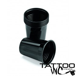 CUPS: PLASTIC - MONOART 'BLACK' 180ML 100 Per Bag